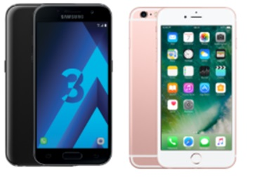 Galaxy a3 2017 et iphone 6s plus
