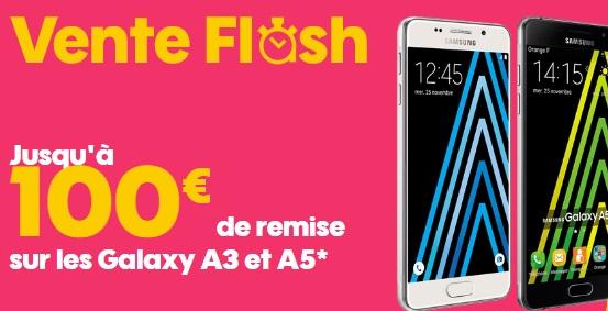 Vente flash SOSH sur le Samsung Galaxy A5 ou Galaxy A3 2016 (jusqu'à 100 euros de remise)