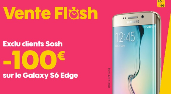 la vente flash exceptionnelle sur le samsung galaxy s6 edge chez sosh expire bient t. Black Bedroom Furniture Sets. Home Design Ideas