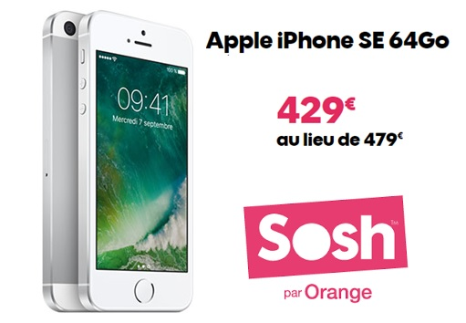 vente flash sosh exclu client l iphone se 64go 429 euros. Black Bedroom Furniture Sets. Home Design Ideas