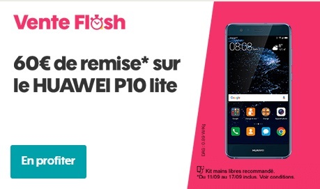 le huawei p10 lite en vente flash chez sosh 269 euros. Black Bedroom Furniture Sets. Home Design Ideas