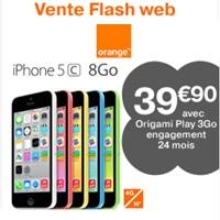 Bon plan Web Orange : 60€ de remise sur l'iPhone 5C 8Go avec un forfait Origami Play !
