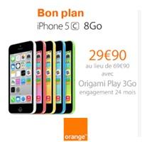 Exclu Web Orange : L'iPhone 5C en promo à 29.90€ avec un forfait Origami Play 3Go !