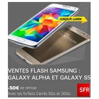 Dernières heures pour profiter des ventes flash SFR : 50€ de remise sur le Galaxy Alpha et Galaxy S5 !