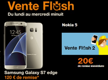 ventes flash orange le galaxy s7 edge 10 euros avec un forfait play et nokia 5 180 euros nu. Black Bedroom Furniture Sets. Home Design Ideas
