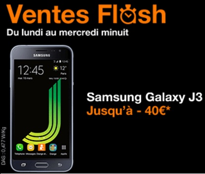 le samsung galaxy j3 en promo 110 euros sans abonnement. Black Bedroom Furniture Sets. Home Design Ideas