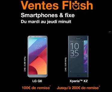 Xperia XZ , LG G6 et HTC U Play en vente flash avec un forfait Orange (jusqu'à 200 euros de remise)
