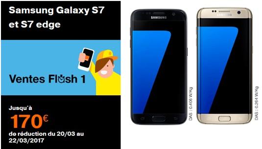 Vente flash Orange : le Samsung Galaxy S7 ou S7 Edge à partir de 1 euro