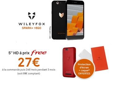 Free Mobile : le Wileyfox Spark + à prix Free avec une coque et une protection écran offertes