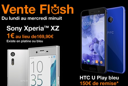le HTC U Play et Sony Xperia XZ en vente flash