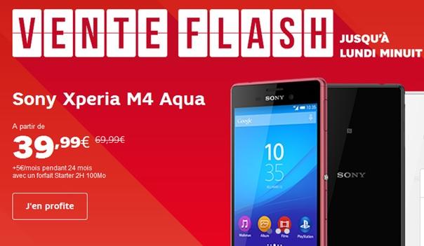 vente flash sfr, le sony Xperia M4 Aqua en promo