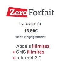 Nouveau chez Zero Forfait : Un forfait illimité avec internet 500Mo à 13.99€ !