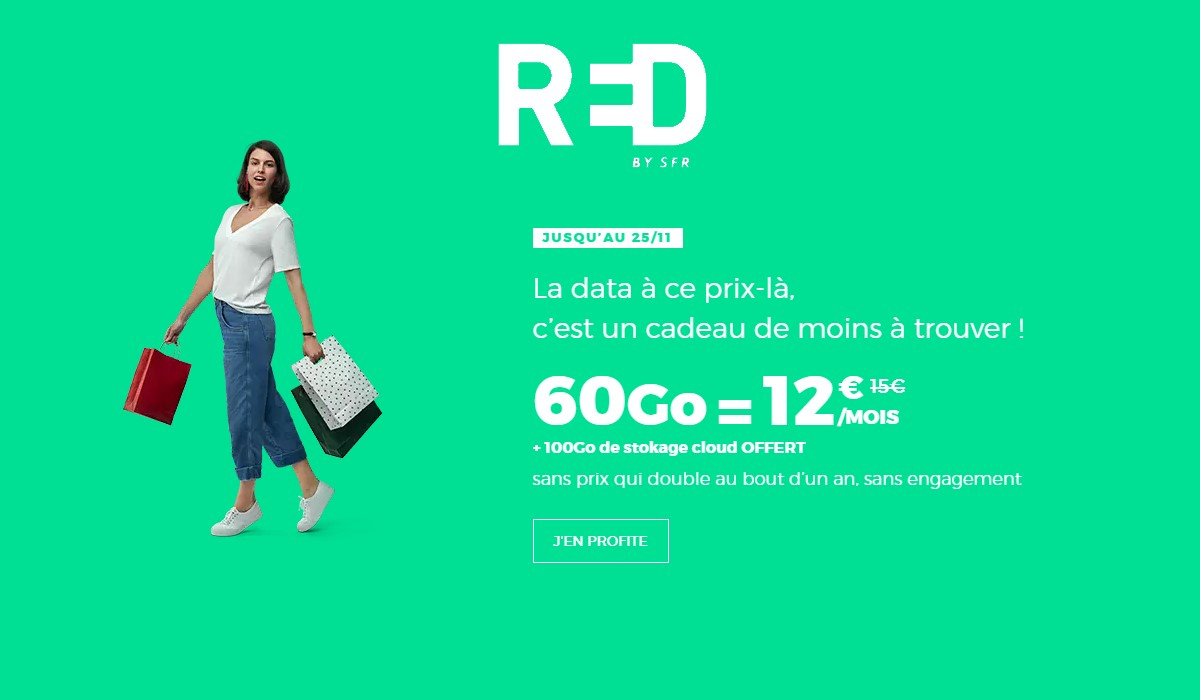 forfait mobile 60 Go à 12 euros chez RED by SFR