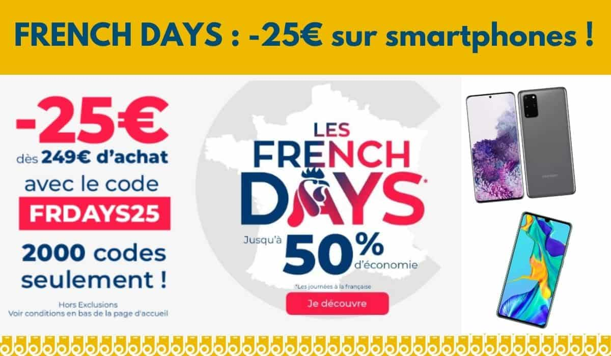 French Days Cdiscount promo moins 25 euros sur Huawei P30 et Samsung S20