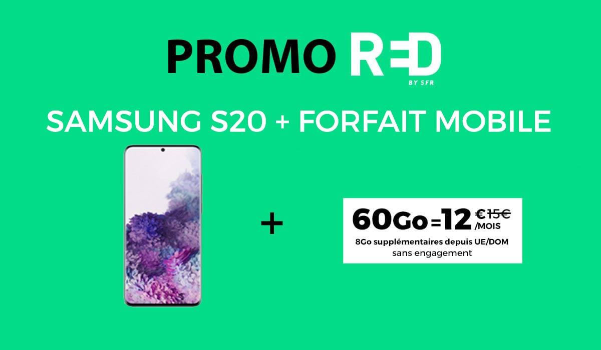 red by sfr promotion samsung s20 et forfait mobile