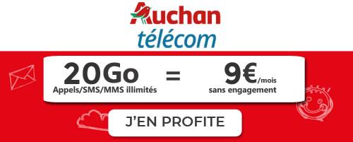 Auchan Telecom 20Go à 9€