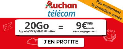 Forfait 20Go à 9,99 euros chez Auchan