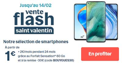 Smartphones promos Saint Valentin