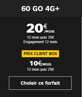 Forfait SFR 60Go à prix promo