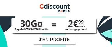 Souscrire au forfait 30Go Cdiscount Mobile à 2,99€