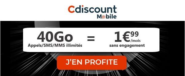 Forfait cdiscount mobile 40Go à 1,99 euros