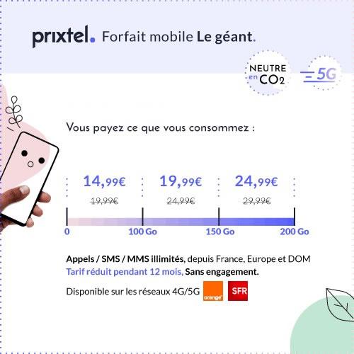 forfait 5G sans engagement de Prixtel