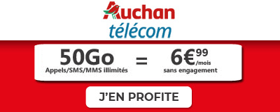 Forfait Auchan 50Go à 6,99 euros sur 12 mois