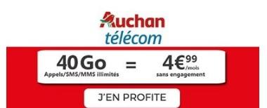 Souscrire au forfait Auchan 40Go à 4,99€