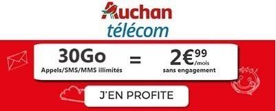 Souscrire au forfait Auchan 30Go