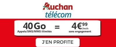 Forfait 40Go à 4,99€ Auchan
