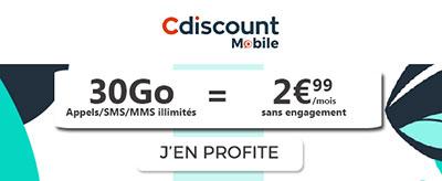 Forfait 30Go à 2,99€ cdiscount mobile