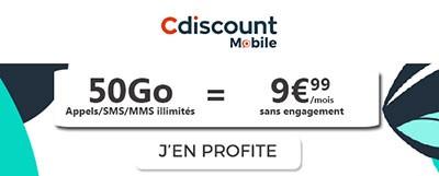 Souscrire à la promo Cdiscount Mobile 50Go à moins de 10 euros