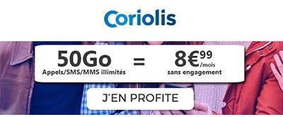 Souscrire au forfait Coriolis 50Go à 8,99€