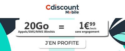 Forfait illimité 20Go Cdiscount Mobile en promotion à 1.99€