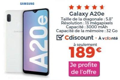 Samsung Galaxy A20e promo Cdiscount