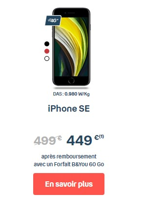 iPhone SE forfait B&You 60 Go