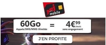 Souscrire au forfait NRJ Mobile 60Go à 4,99€