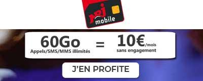forfait 60 Go à 10 euros par mois NRJ Mobile