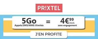 Je profite du forfait 5Go à 4,99€ chez Prixtel