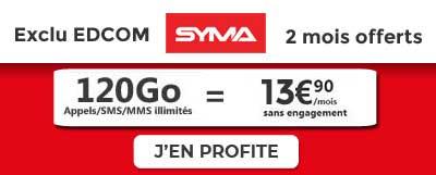 Forfait Syma 120 Go 2 mois offerts EDCOM