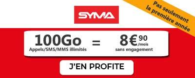 Forfait 100Go à 8,90 euros chez syma