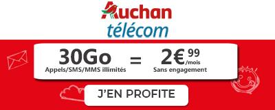 Forfait mobile 30 Go à 2,99€ en promo chez Auchan Telecom