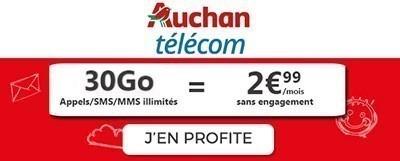 Promo forfait pas cher Auchan Telecom
