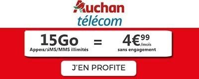 Forfait mobile 15Go promo 5€ auchan Telecom