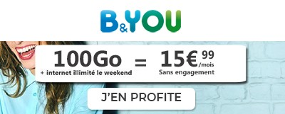 Forfait B&You 100Go + internet illimite le week-end
