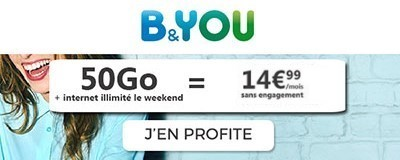 Forfait B&You 50Go + data illimitée week-end