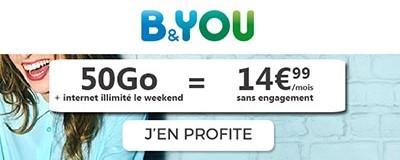 Forfait B&You 50Go + internet illimité le week-end
