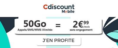 Forfait 50Go à 2,99€ Cdiscount Mobile
