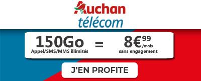 auchan Telecom met en promo forfait mobile 150 Go