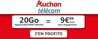 Forfait Auchan 20Go à 9,99€ à vie